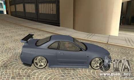 Nissan Skyline R-34 GTR para GTA San Andreas vista posterior izquierda