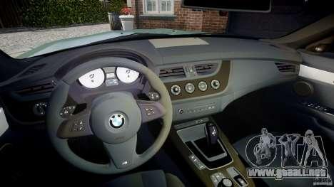 BMW Z4 sDrive35is 2011 v1.0 para GTA 4 vista hacia atrás
