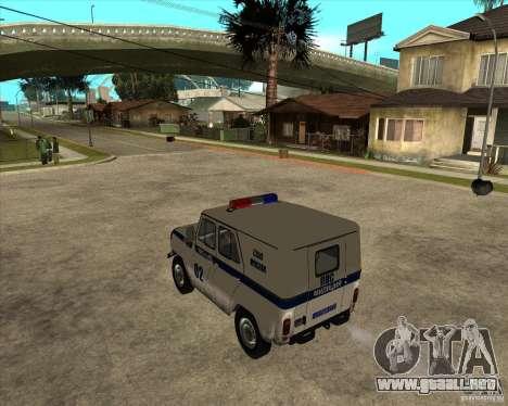UAZ 31514 patrulla para GTA San Andreas left
