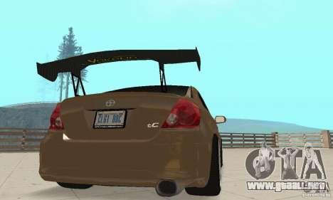 Toyota Scion tC Edited para visión interna GTA San Andreas
