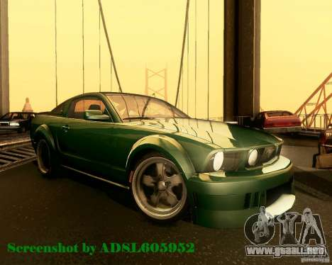 Ford Mustang GT 2005 Tunable para vista lateral GTA San Andreas