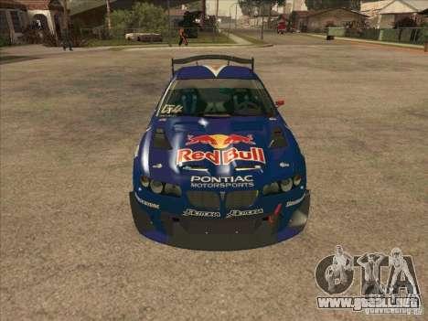 Pontiac GTO Red Bull para GTA San Andreas vista hacia atrás