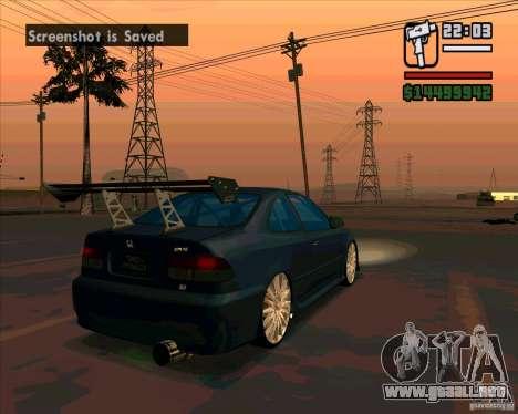 Honda Civic sintonizado (corregido) para GTA San Andreas vista posterior izquierda