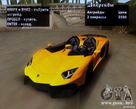 Lamborghini Aventador J TT Black Revel para vista lateral GTA San Andreas