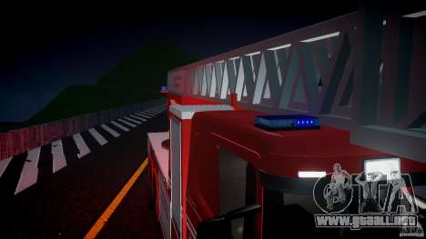 Scania Fire Ladder v1.1 Emerglights blue [ELS] para GTA 4 vista superior
