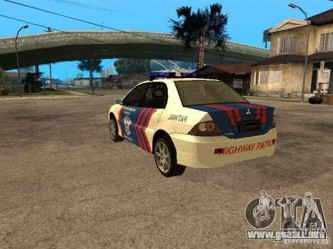 Mitsubishi Lancer Police Indonesia para GTA San Andreas left