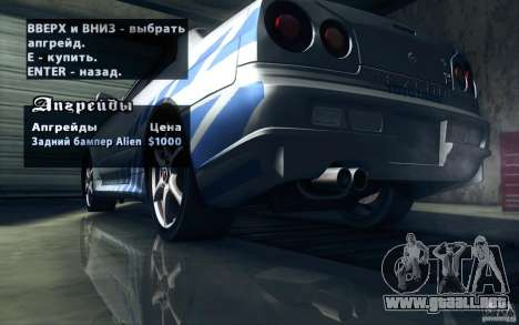 Nissan Skyline GTR R34 VSpecII para el motor de GTA San Andreas