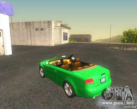 Audi A4 Convertible 2005 para GTA San Andreas vista posterior izquierda