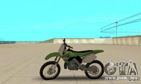 Kawasaki KX250 para GTA San Andreas vista posterior izquierda