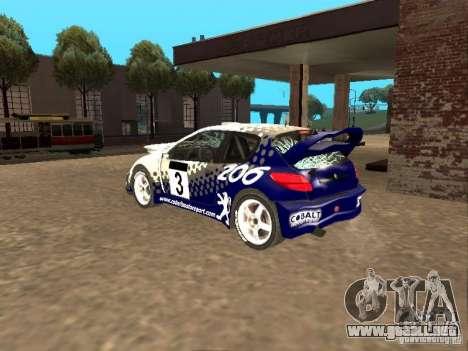 Peugeot 206 WRC de Richard Burns Rally para la vista superior GTA San Andreas