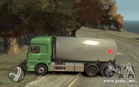 Mercedes Benz Actros Gas Tanker para GTA 4 vista lateral
