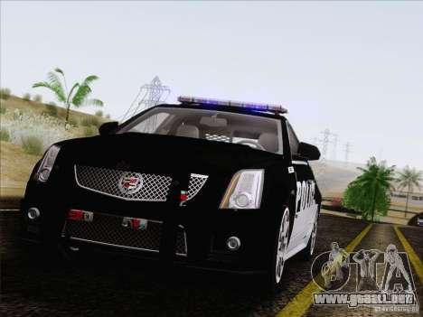 Cadillac CTS-V Police Car para GTA San Andreas vista hacia atrás