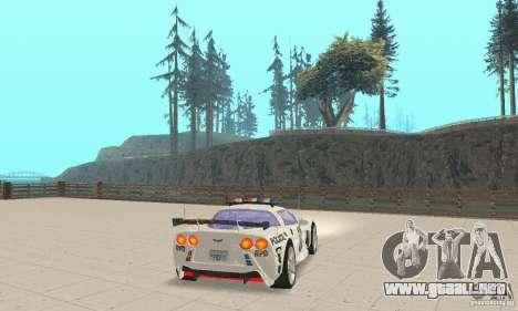 Chevrolet Corvette C6 sargento de policía Cruz N para GTA San Andreas vista posterior izquierda