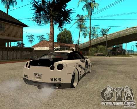 Nissan Skyline R35 para GTA San Andreas vista posterior izquierda