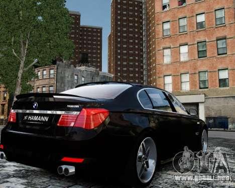 BMW 750Li (F02) Hamann 2010 v2.0 para GTA 4 vista hacia atrás