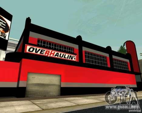 Taller de OVERHAULIN para GTA San Andreas quinta pantalla
