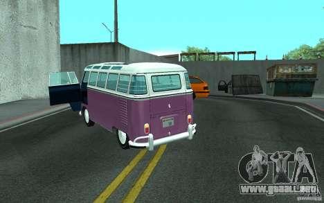 Volkswagen Transporter T1 SAMBAQ CAMPERVAN para vista lateral GTA San Andreas