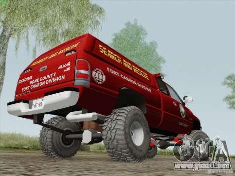 Dodge Ram 3500 Search & Rescue para GTA San Andreas vista hacia atrás