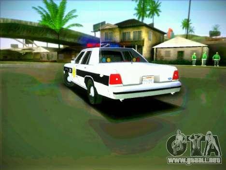 Ford Crown Victoria LTD 1991 HILL-VALLEY Police para GTA San Andreas vista posterior izquierda