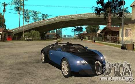 Bugatti Veyron Gran Sport 2011 para GTA San Andreas vista hacia atrás