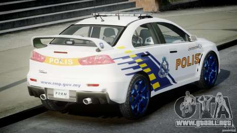 Mitsubishi Evolution X Police Car [ELS] para GTA 4 Vista posterior izquierda