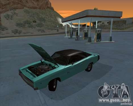 Dodge Charger RT HEMI 1968 para GTA San Andreas vista posterior izquierda