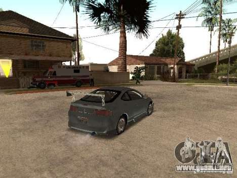 Acura RSX Charge para GTA San Andreas vista posterior izquierda