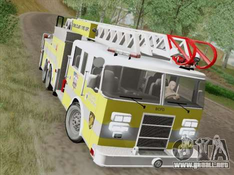 Pierce Arrow XT BCFD Tower Ladder 4 para vista lateral GTA San Andreas