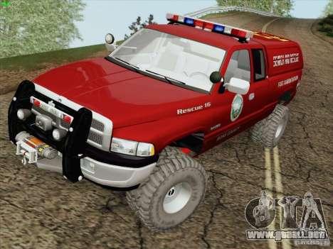 Dodge Ram 3500 Search & Rescue para vista lateral GTA San Andreas