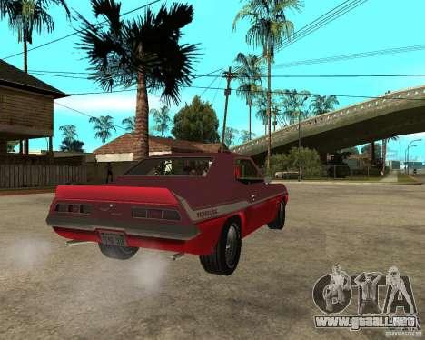 1969 Yenko Chevrolet Camaro para GTA San Andreas vista posterior izquierda