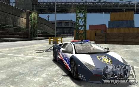 Lamborghini Reventon Police Stinger Version para GTA 4 vista hacia atrás