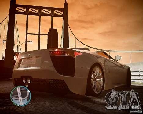 Lexus LF-A Roadster para GTA 4 vista hacia atrás