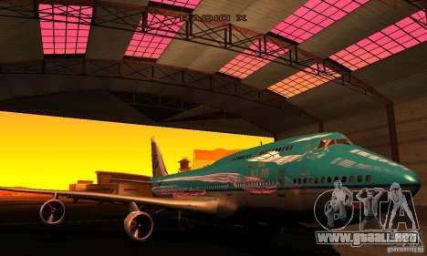 Boeing 747 KLM para GTA San Andreas vista hacia atrás