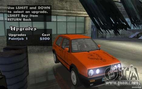 VW Golf Mk2 GTI para visión interna GTA San Andreas