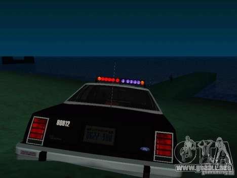 Ford Crown Victoria LTD 1992 SFPD para GTA San Andreas vista posterior izquierda