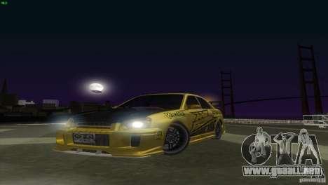 Subaru Impreza WRX No Fear para GTA San Andreas vista posterior izquierda