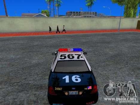 Ford Crown Victoria San Andreas State Patrol para GTA San Andreas vista hacia atrás