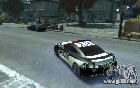 Nissan GT-R R35 Police para GTA 4 Vista posterior izquierda