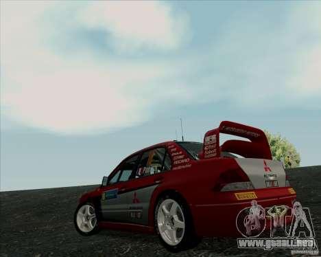 Mitsubishi Lancer Evolution VIII WRC para la visión correcta GTA San Andreas