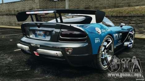 Dodge Viper SRT-10 ACR ELITE POLICE para GTA 4 Vista posterior izquierda