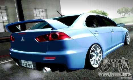 Mitsubishi Lancer Evolution X para GTA San Andreas left