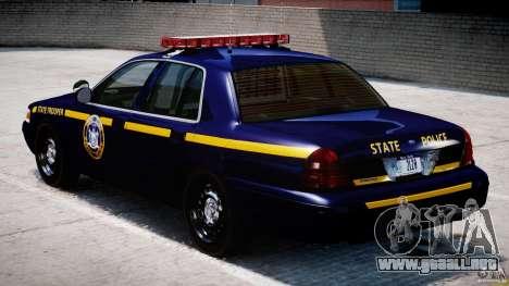 Ford Crown Victoria New York State Patrol [ELS] para GTA 4 visión correcta