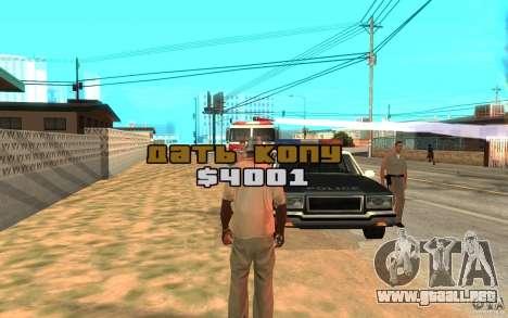 El soborno para GTA San Andreas tercera pantalla