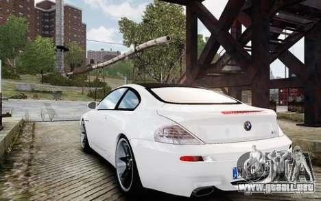 BMW M6 Coupe E63 2010 para GTA 4 Vista posterior izquierda