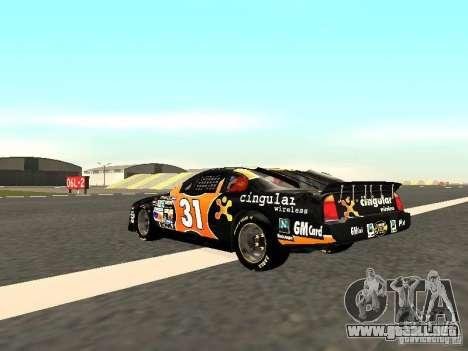 Chevrolet Monte Carlo Nascar CINGULAR Nr.31 para GTA San Andreas vista posterior izquierda
