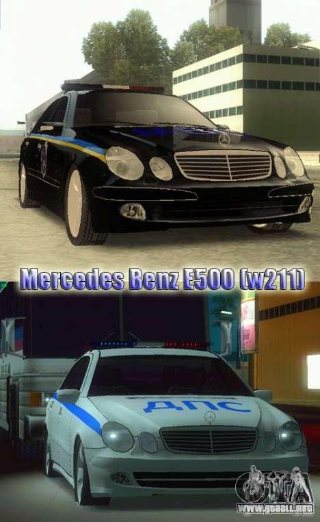 MERCEDES BENZ E500 w211 SE policía Rusia para GTA San Andreas vista posterior izquierda