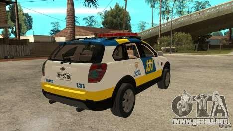 Chevrolet Captiva Police para la visión correcta GTA San Andreas