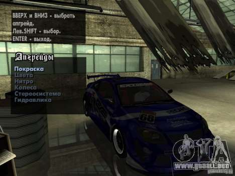 Chevrolet Cobalt SS NFS Shift Tuning para la vista superior GTA San Andreas
