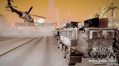 Black Hawk from BO2 para GTA San Andreas vista hacia atrás