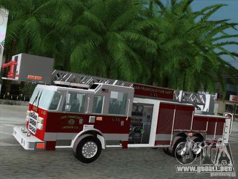 Pierce Aerials Platform. SFFD Ladder 15 para la vista superior GTA San Andreas
